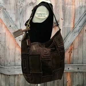 COACH Suede Mosaic Patchwork Duffle Like New 10409